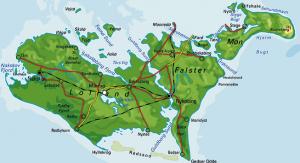 Danmarkskort - Lolland Falster Møn - rigtig kort